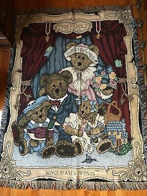 Boyds Bears The Family Tapestry Throw Blanket 64