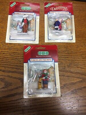 Vintage LEMAX Christmas Village Porcelain People Figurines Lot of 3