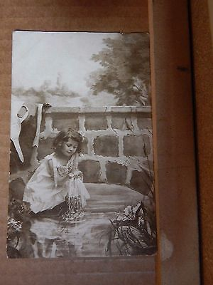 Postcard young Child Posing on A Set of A Country stream posted 1923