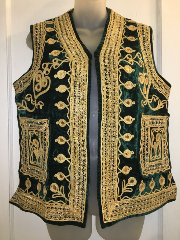 Vintage VTG 1970s 70s Green Velvet Gold Embroidered Mirrored VEST Jacket M L