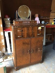 ANTIQUE TALL DRESSER WITH MIRROR