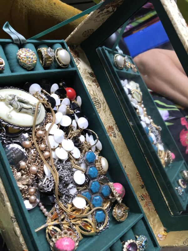 VINTAGE ESTATE JUNK DRAWER JEWELRY LOT W Old Jewelry Box Approximately 6 Lbs