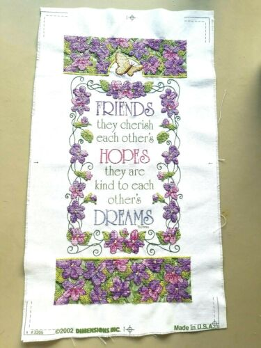 Friends, Hopes, Dreams Dimensions Sampler Finished Completed Cross Stitch