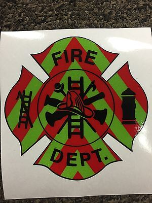 FIRE DEPARTMENT EMT Firefighter Chevron Reflective 3M Vehicle Sticker Decal 4""