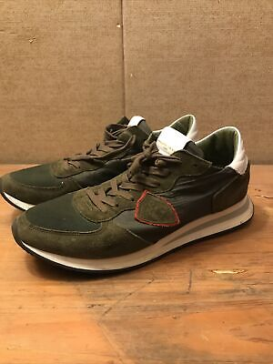 PHILIPPE MODEL TZLUW013 Men's Size 10 EU 43 Green Red White Italy Sneakers Shoes