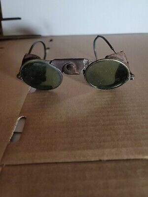 Vintage American Optical SAFETY GOGGLES Green Lens Motorcycle/Welding/Steampunk