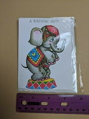 Carnival Gift Card (VTG Mini Birthday Gift Card Circus Elephant New in)