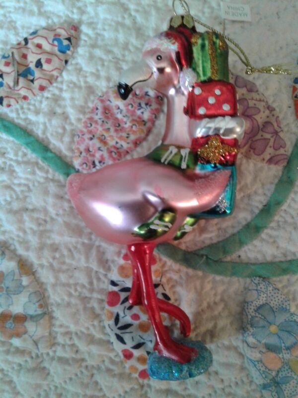 Pink Flamingo Christmas Santa Hat with presents ~ NWT