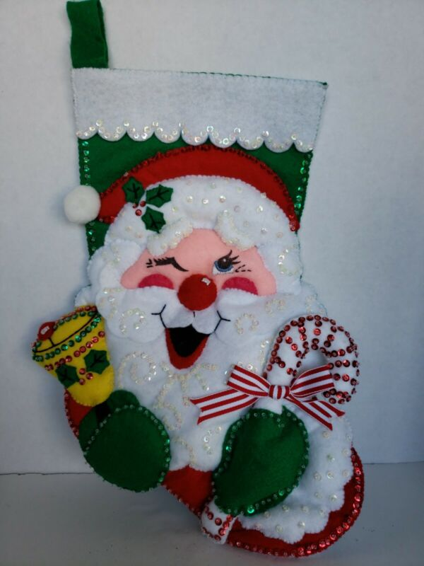 """Bucilla Finished Felt Christmas Stocking Winking Santa 16"""" Sequined Handmade"""