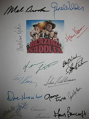 Blazing Saddles Signed Script X14 Mel Brooks Gene Wilder Cleavon Little Kahn RPT