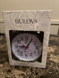 Bulova Bellman 11 Analog Clock Chrome Finish Metal Bell Alarm  B8127