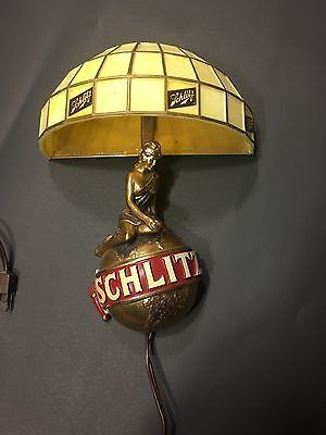 VTG SCHLITZ BEER WOMEN GOLD WORLD GLOBE WALL SCONCES LIGHTED BAR SIGN COLLECTIBL