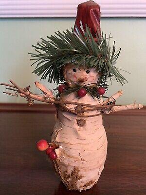 Rustic Tree Bark Snowman. 9 inches Tall