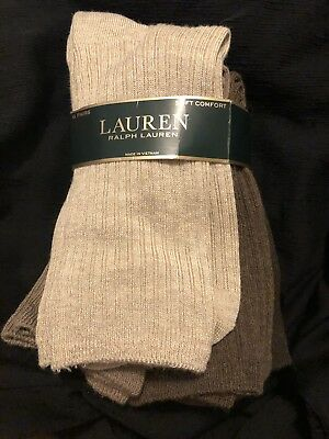 NWT 6 Pair Ladies Lauren Ralph Lauren Soft Comfort Ribbed Socks Neutral Colors