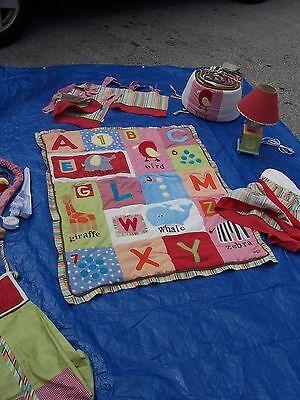 Alphabet Soup Bedding (BABY CRIB BEDDING NURSERY SET COCALO ALPHABET SOUP ABC'S BOY GIRL RED STRIPES )