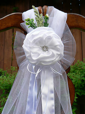 Wedding decorations, White Chair Bows, Pew Bows, ...