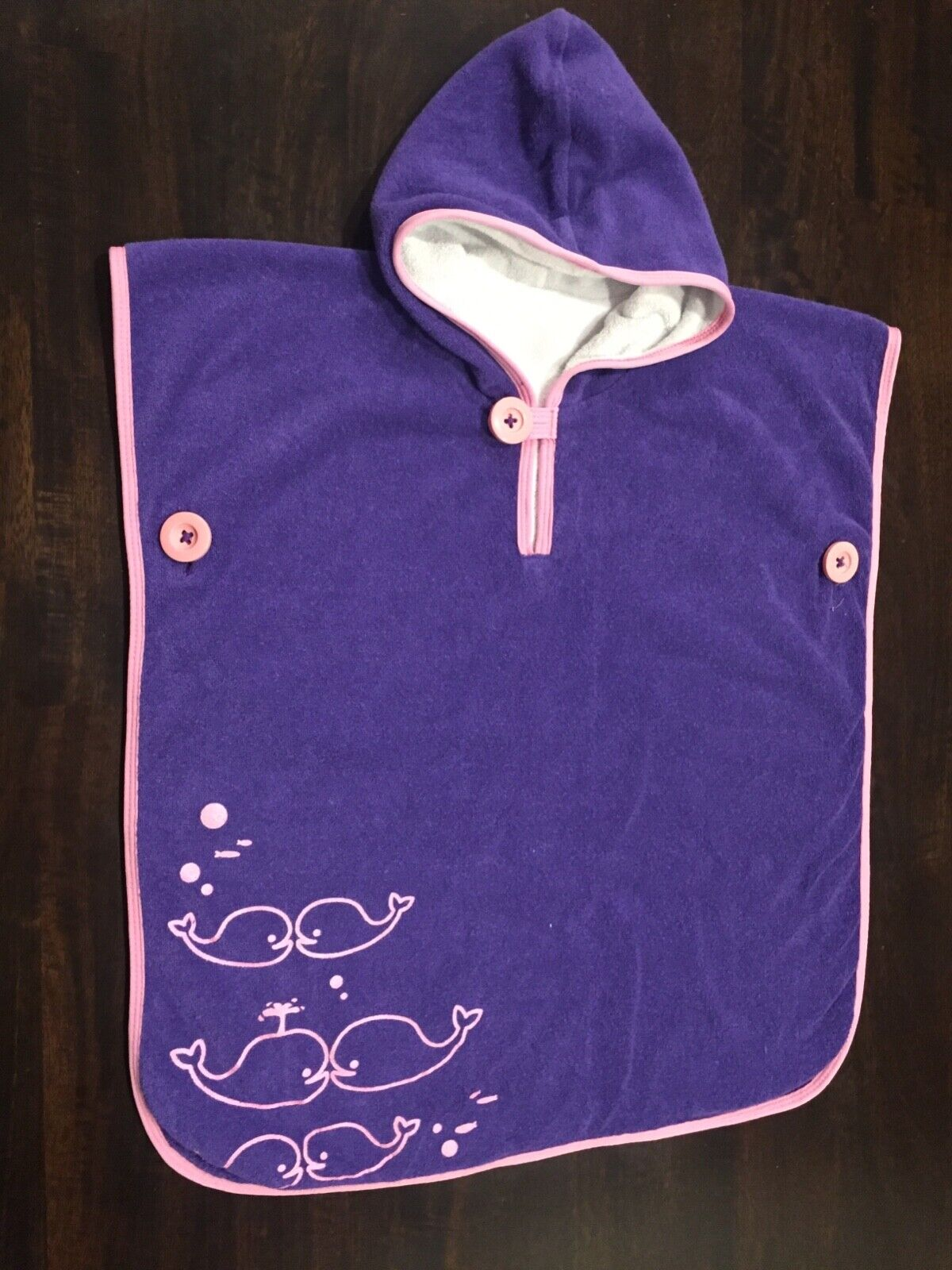 Baby and Toddler girl hooded beach towel swim poncho purple