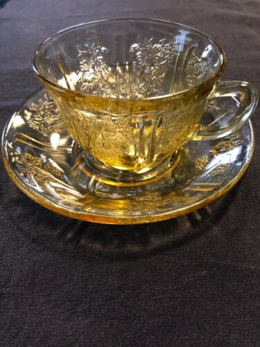 Federal Glass Co. SHARON Cabbage Rose Amber Cup and Saucer Set