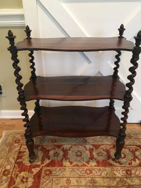 19th C Barley Twist English Rosewood 3 Tiered Table Butler
