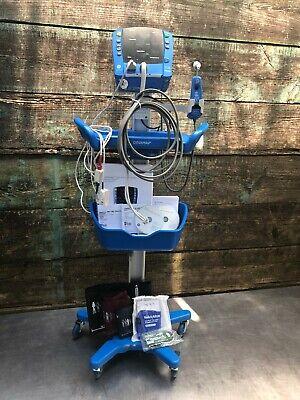 Ge Dinamap Carescape V100 Patient Monitor W Mobile Stand Cart Nibp Temp Spo2