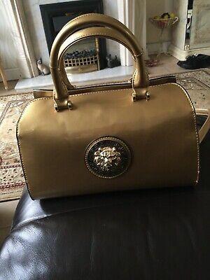 Versace style gold patent Medusa style shoulder bag