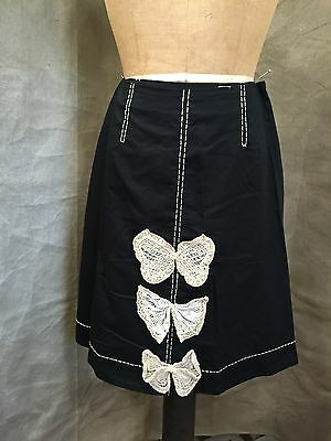 Anthropologie 66170 Black A-line Cotton Skirt LACE BUTTERFLY BOWS Lined ODILLE 6 Butterfly Lace Skirt