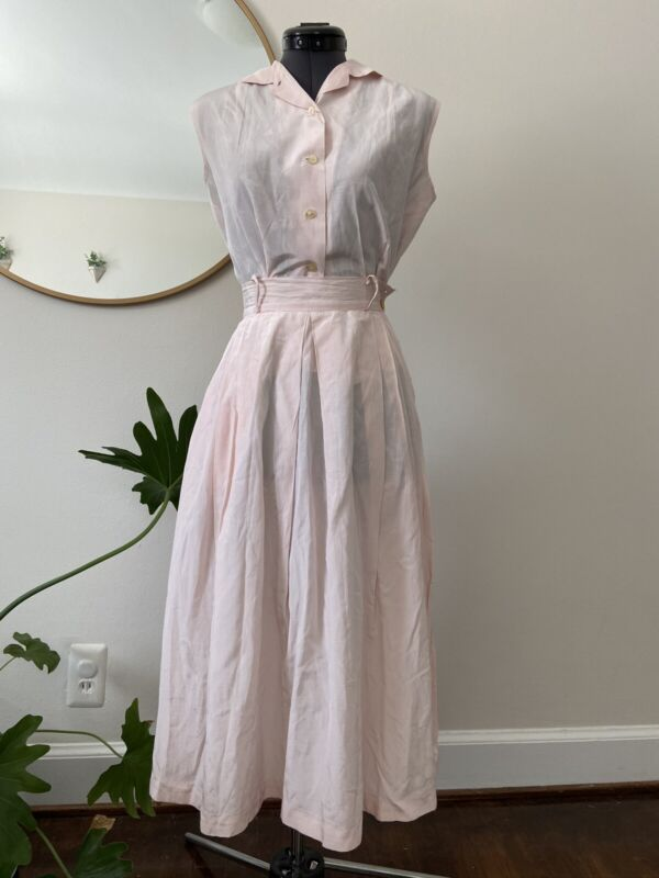Vintage 1950's 1960's Light Pink Fit And Flare Two Piece Skirt Set