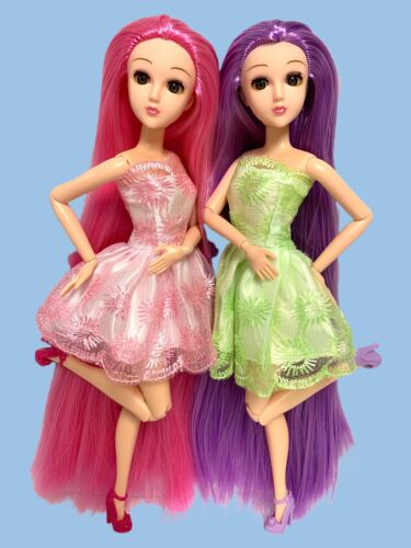 Posable Jointed Articulated Fashion Dolls Lot Twins 2 Longes