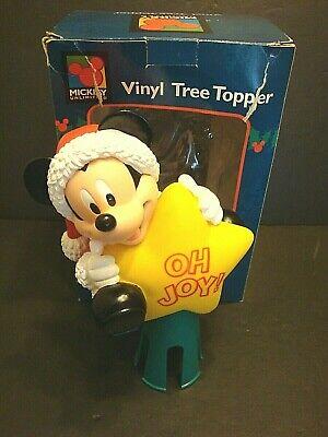 Disney Christmas Tree Topper MICKEY MOUSE Santa Vinyl Star Oh Joy Enesco Vtg NEW