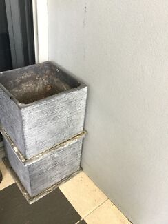 Two square grey plant pots