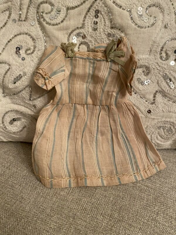 Striped Antique Victorian Era Doll Dress For Cabinet Size French German Bisque