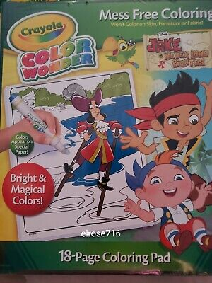 Jake The Pirate Coloring Pages (CRAYOLA COLOR WONDER JAKE AND THE NEVER LAND PIRATES 18 PAGE COLORING PAD~NEW)