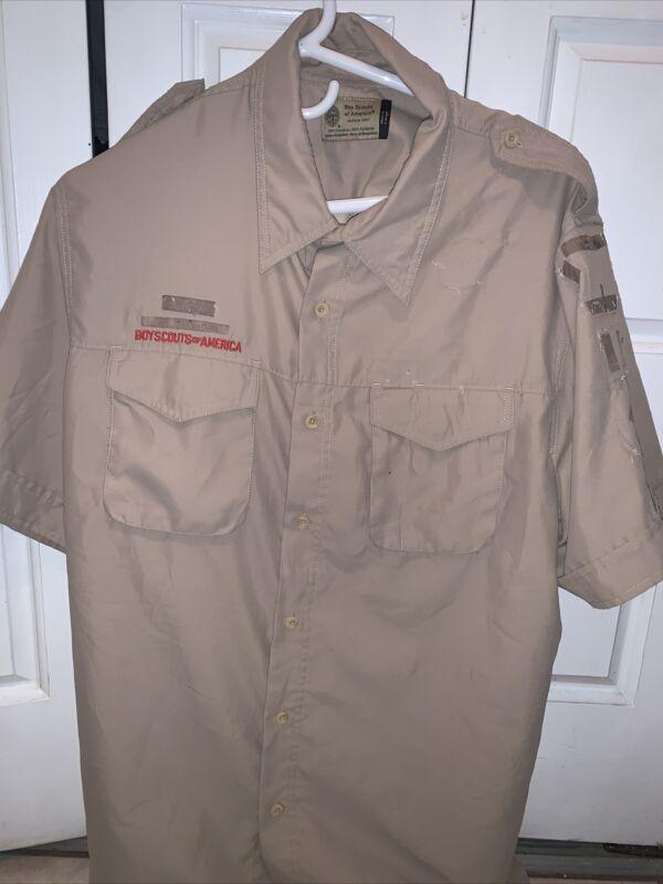 Vented Microfiber Boy Scout BSA UNIFORM SHIRT Men's  Large Short Sleeve Poly K37