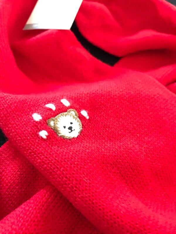 "Italian NWT 100% Wool Red Bear Pompom Scarf 5 1/2""x32"""