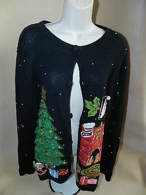 Basic Editions Ladies Ugly Christmas Sweater Cardigan Tree Fireplace Sequins Med](Fireplace Sweater)