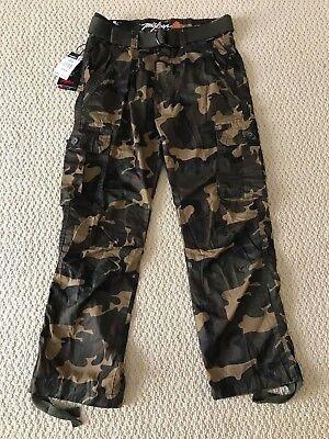 Grn Camo - NWT Men's Miskeen Green Camouflage Camo Cargo Pocket Pants w/ Belt SIZES 30-40