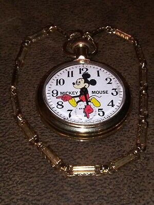 """Running Vintage Bradley """"Mickey Mouse"""" Pocket Watch, Train Engraved On Case"""