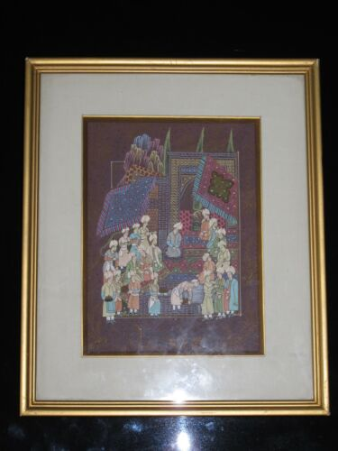 Antique Persian Miniature Painting - Finely Hand-painted - Gold Gilt Frame -Nice
