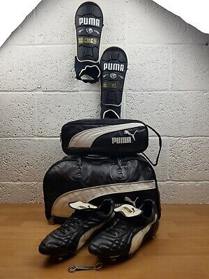 PUMA KING Vintage Football Boots Size 11 + Shin Pads + Boot Bag + Carry Bag