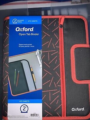 Oxford Zipper Open Tab And Snap Binders 475 Sheets 2 Round Ring Drk Greyred