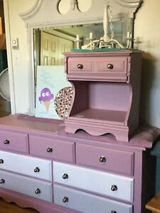 Combo purple dresser, mirror, and bedside table