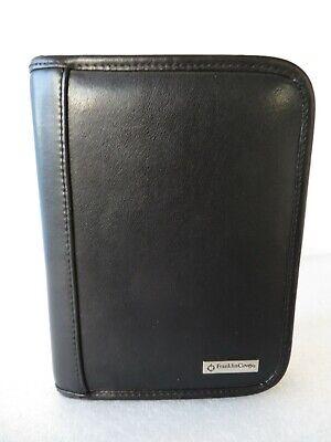 Euc Pocket 78-rings Black Genuine Leather Franklin Covey Planner Binder Zip