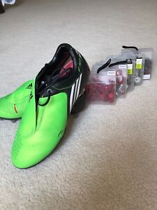 Adidas F50 Cleats Tunit with 5 boxes of cleats  size 8.5