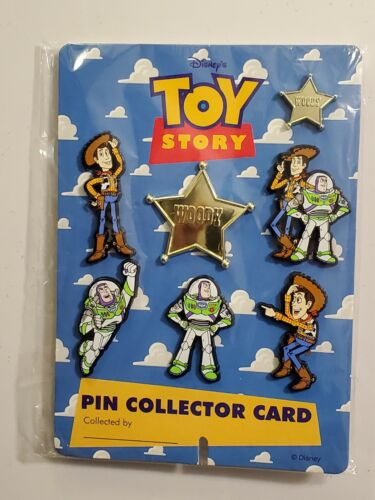 Toy Story 1 Disney Pixar UK Collector Card  7 Pins: Buzz, Woody + Woody's Badge