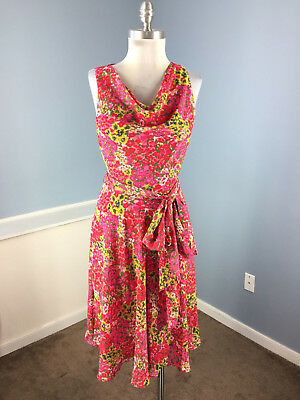 Ralph Lauren S 2 4 Pink Green Floral A line Midi Dress belt Career Cocktail Cute