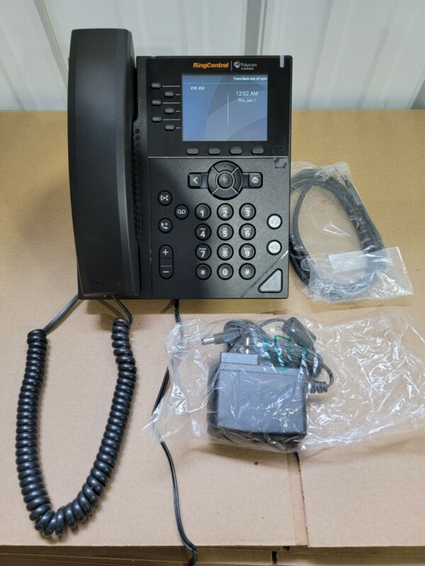 POLYCOM VVX 350 2200-48830-025 6-LINE IP PHONE VERY LIGHTLY USED FACTORY RESET!