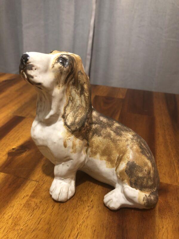 Vintage JIE Sweden Gantofta Hand Painted Sculpted Basset Hound Dog Figurine