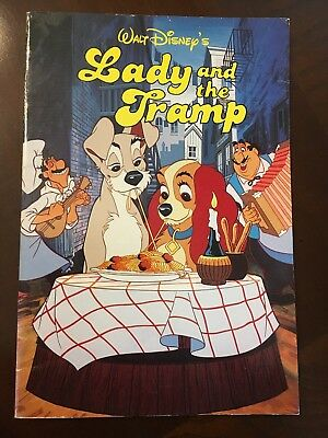Vintage Lady and the Tramp Book - 1986 Walt Disney Paperback Troll Scholastic