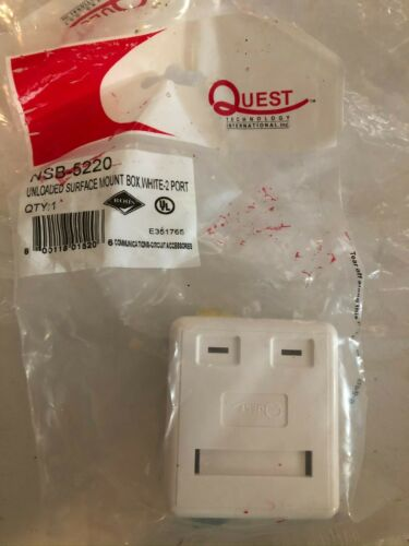 NEW 32 Quest Technology NSB-5220 White 2 Port Unloaded Surface Mount Boxes
