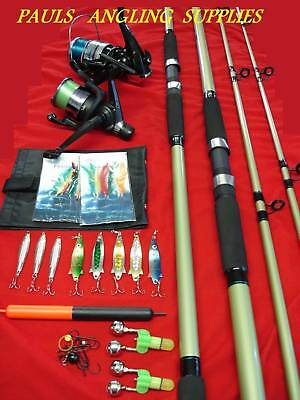 Sea Fishing Beach Pier Rock Kit 2 Rod 2 Reel + Tackle